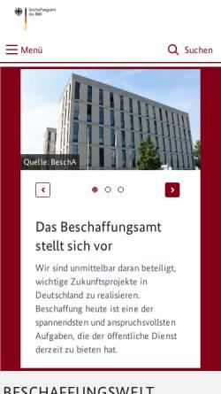 Vorschau der mobilen Webseite www.bescha.bund.de, Beschaffungsamt des BMI (BeschA)