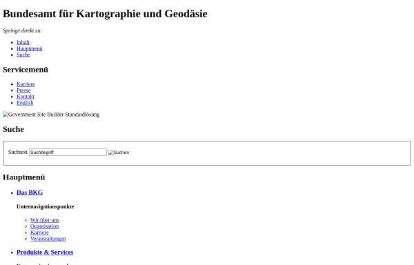 Vorschau von www.bkg.bund.de, Bundesamt für Kartographie und Geodäsie (BKG)