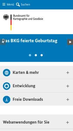 Vorschau der mobilen Webseite www.bkg.bund.de, Bundesamt für Kartographie und Geodäsie (BKG)