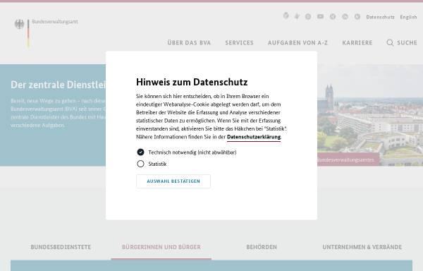 Vorschau von www.bva.bund.de, Bundesverwaltungsamt (BVA)