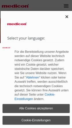 Vorschau der mobilen Webseite www.medicon.de, Medicon eG
