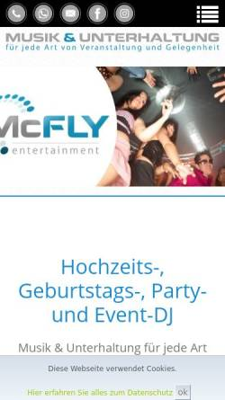 Vorschau der mobilen Webseite www.mcfly-entertainment.de, McFly-Entertainment
