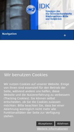Vorschau der mobilen Webseite www.idk-hannover.de, Innung des Kfz-Handwerks Hannover