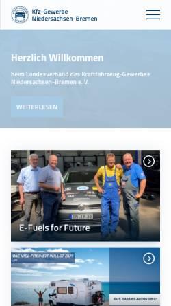 Vorschau der mobilen Webseite www.kfz-nds.de, Landesverband des Kraftfahrzeuggewerbes Niedersachsen-Bremen e.V.