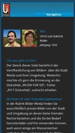 Vorschau der mobilen Webseite www.ridder-weida.de, Mobile Discothek Weida
