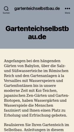 Vorschau der mobilen Webseite www.gartenteichselbstbau.de, Gartenteich im Selbstbau