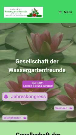 Vorschau der mobilen Webseite www.wassergarten.de, Gesellschaft der Wassergarten-Freunde e.V.