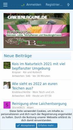 Vorschau der mobilen Webseite www.hobby-gartenteich.de, Hobby-Gartenteichforum