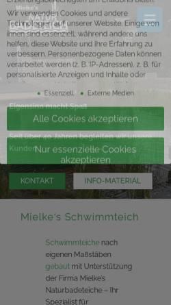 Vorschau der mobilen Webseite www.mielkesteiche.de, Mielkes Naturteiche, Viola Jankowski