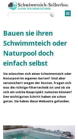 Vorschau der mobilen Webseite www.schwimmteich-selbstbau.de, Ralf Glenks Schwimmteich