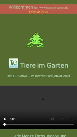 Vorschau der mobilen Webseite www.tiere-im-garten.de, Tiere im Garten und Gartenteich