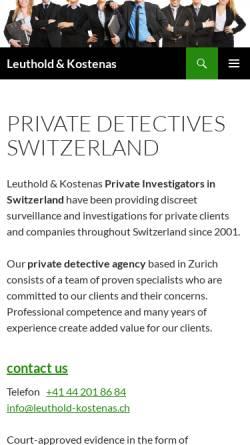 Vorschau der mobilen Webseite www.leuthold-kostenas.ch, Detektei Leuhold & Kostenas