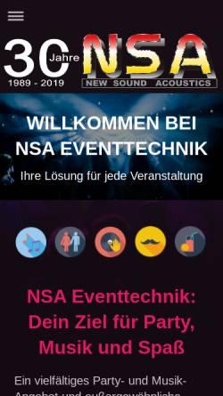 Vorschau der mobilen Webseite www.nsadisco.de, NSA Mobildisco
