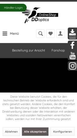 Vorschau der mobilen Webseite www.ddoptics.de, DDoptics Optische Geräte & Feinwerktechnik KG