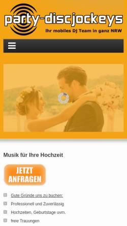 Vorschau der mobilen Webseite www.party-discjockeys.de, Party Discjockeys