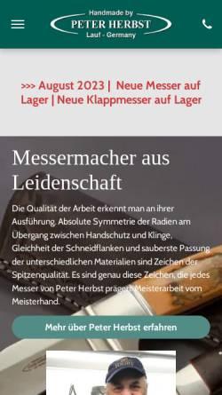 Vorschau der mobilen Webseite www.messerherbst.de, Peter Herbst