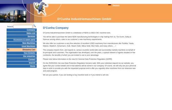 Vorschau von www.dcunha-cnc.com, D´Cunha Industriemaschinen GmbH
