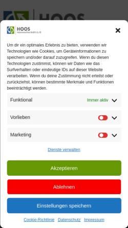 Vorschau der mobilen Webseite www.hoos-maschinen.de, Hoos Werkzeugmaschinen, Inh. Bernd Hoos