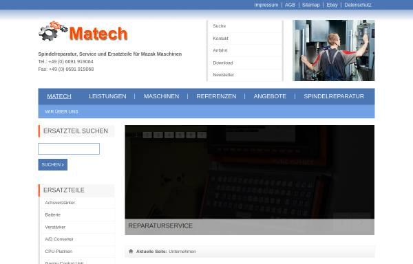 Vorschau von www.matech.de, Matech CNC-Werkzeugmaschinen Service, Inh. Reinhard Heinrich Keller
