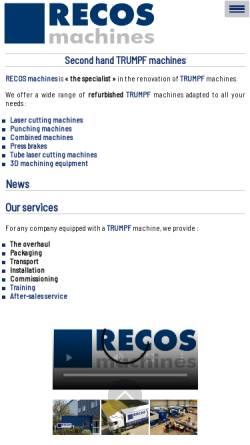 Vorschau der mobilen Webseite www.recos.fr, Recos Machines SARL