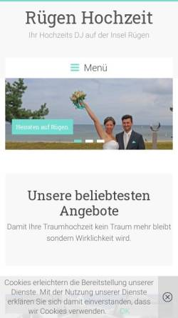 Vorschau der mobilen Webseite www.ruegen-hochzeit.de, Rügen Hochzeit