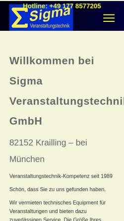 Vorschau der mobilen Webseite www.sigma-event.de, Sigma Veranstaltungstechnik GmbH