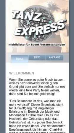Vorschau der mobilen Webseite www.tanzexpress.de, Tanzexpress