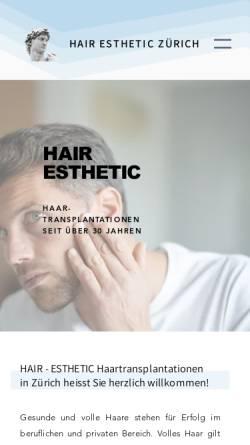 Vorschau der mobilen Webseite www.hair-esthetic.ch, Hair-Esthetic Haartransplantation