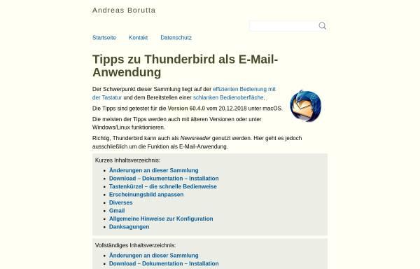 Vorschau von borumat.de, Tipps zu Thunderbird als Email-Anwendung