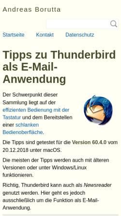 Vorschau der mobilen Webseite borumat.de, Tipps zu Thunderbird als Email-Anwendung