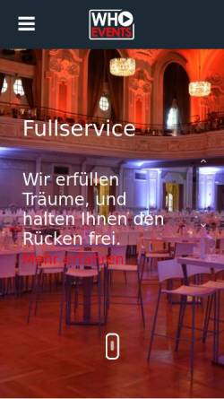 Vorschau der mobilen Webseite www.who-events.de, Who Events - Dj Service