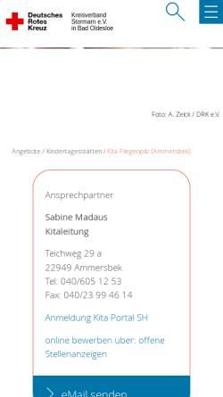 Vorschau der mobilen Webseite drk-stormarn.de, Kita Fliegenpilz e.V.