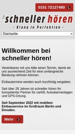 Vorschau der mobilen Webseite www.schneller-hoeren.de, schneller hoeren Ltd.