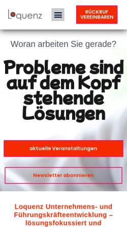 Vorschau der mobilen Webseite www.loquenz.de, Loquenz Unternehmensberatung GmbH