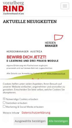 Vorschau der mobilen Webseite www.braunvieh-vorarlberg.at, Braunvieh Vorarlberg