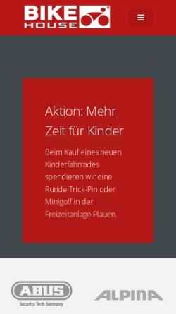 Vorschau der mobilen Webseite www.bikehouse-plauen.de, Bike House Plauen