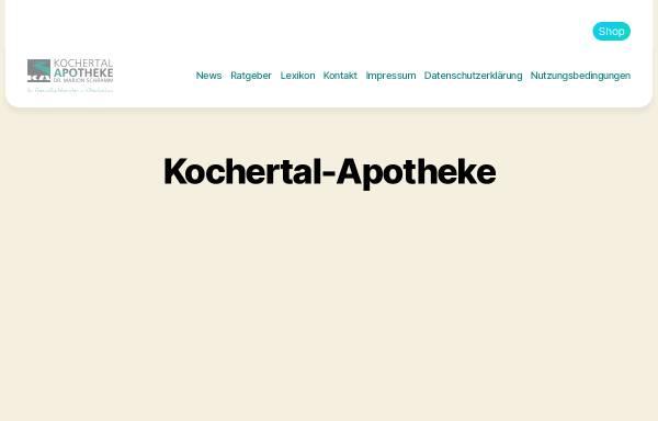 Vorschau von www.kochertal-apotheke.de, Kochertal-Apotheke, Dr. Marion Schramm