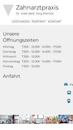 Vorschau der mobilen Webseite www.zahnprofi-le.de, Zahnarztpraxis Dr. med. dent. Jörg Klemen