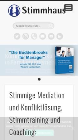 Vorschau der mobilen Webseite www.stimmhaus.de, Stimmhaus - Dipl.-Psych. Jochen Waibel