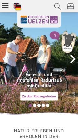 Vorschau der mobilen Webseite www.heideregion-uelzen.de, Erlebnisregion Uelzen - Tourismuskreis Uelzen e.V.