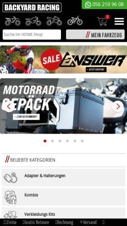 Vorschau der mobilen Webseite www.backyard-racing.ch, Backyard Racing