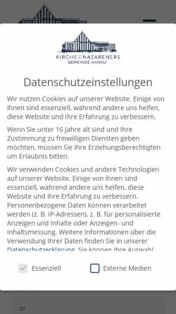 Vorschau der mobilen Webseite kdn-hanau.de, Kirche des Nazareners Hanau