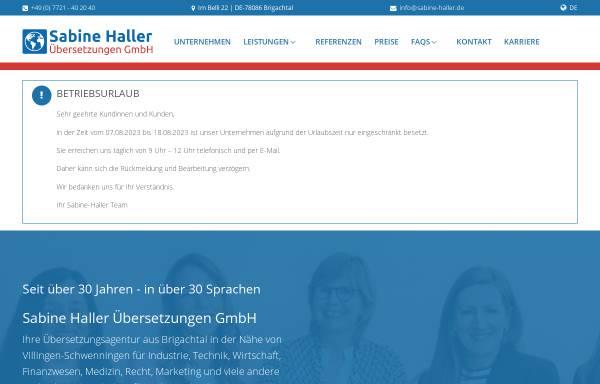 Vorschau von www.sabine-haller.de, Übersetzungsbüro Sabine Haller