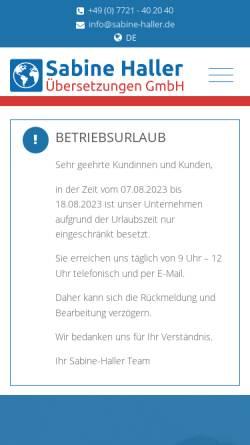 Vorschau der mobilen Webseite www.sabine-haller.de, Übersetzungsbüro Sabine Haller