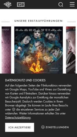 Vorschau der mobilen Webseite filmkunstkinos.de, Filmkunstkinos