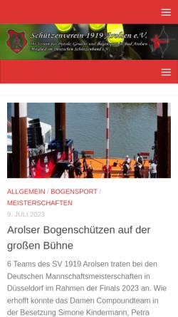 Vorschau der mobilen Webseite www.sv-arolsen.de, Schützenverein Arolsen 1919 e.V.