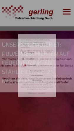 Vorschau der mobilen Webseite www.gerling-pulverbeschichtung.de, Gerling Pulverbeschichtung GmbH
