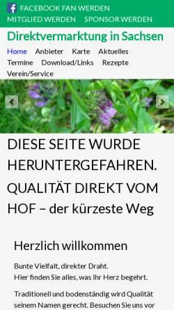 Vorschau der mobilen Webseite www.direktvermarktung-sachsen.de, Direktvermarktung in Sachsen e.V.