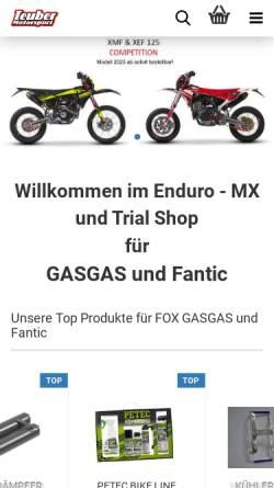 Vorschau der mobilen Webseite gasgas-online.de, Zweiradsport Teuber