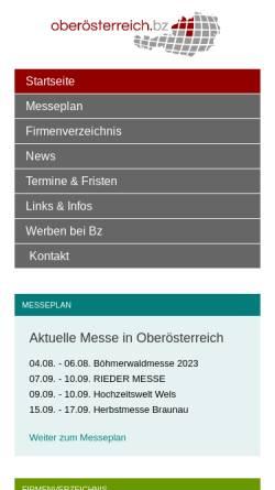 Vorschau der mobilen Webseite www.oberoesterreich.bz, Oberösterreich.Bz - Shopping und Wirtschaftsplattform für Oberösterreich